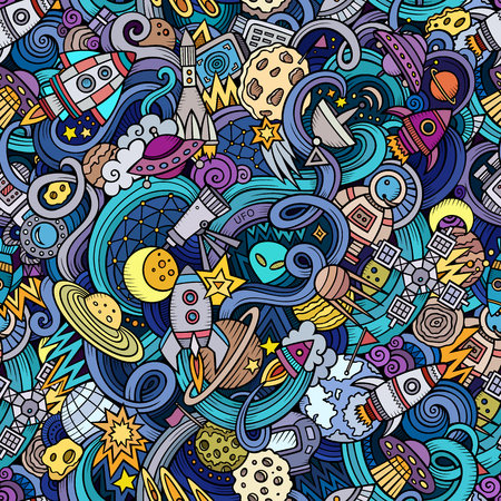 Cartoon hand-drawn doodles on the subject of space style theme seamless pattern. Vector  background Vettoriali