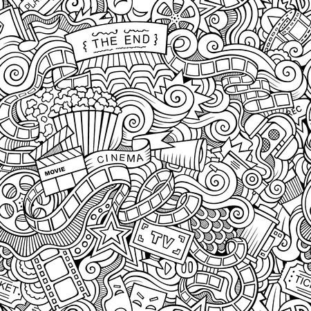 film industry: Cartoon doodles hand drawn cinema, movie, film seamless pattern. Vector endless background