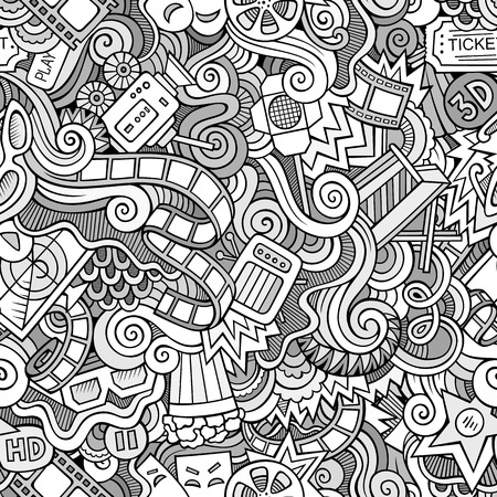 Cartoon doodles hand drawn cinema, movie, film seamless pattern. Vector endless background