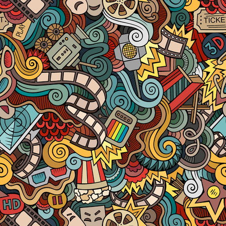 cinematograph: Cartoon vector doodles hand drawn cinema seamless pattern
