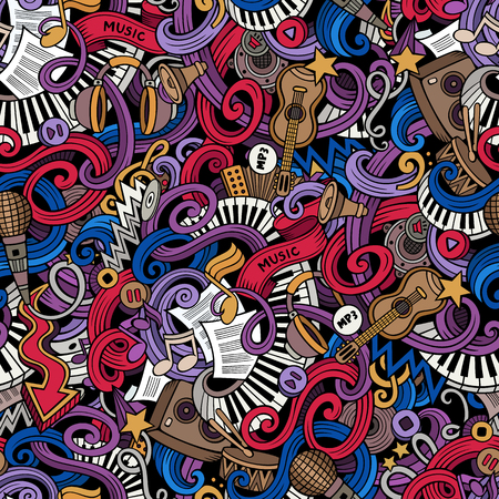 Cartoon hand-drawn doodles on the subject of music style theme seamless pattern. Vector color background Stok Fotoğraf - 49422487