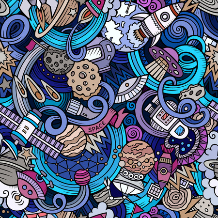 detailed: Cartoon hand-drawn doodles on the subject of space style theme seamless pattern. Vector  background Illustration