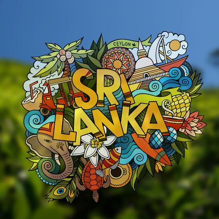 sri: Sri Lanka hand lettering and doodles elements emblem. Vector blurred background