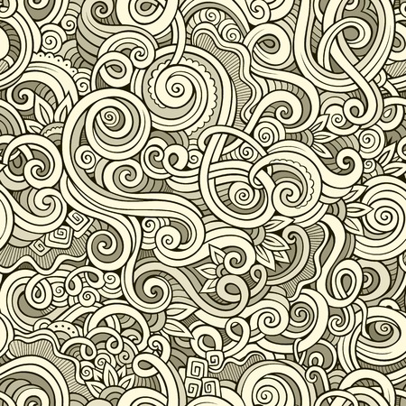 hand drawn flower: Decorative hand drawn doodle ornamental curl vector sketchy seamless pattern. Can be used for wallpaper, pattern fills, web page background, surface textures
