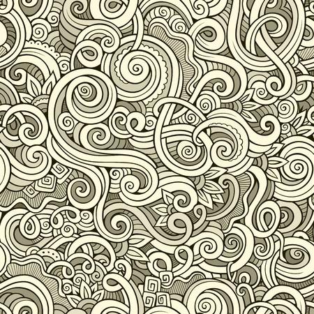 batik: doodle dessinée vecteur de boucle ornementale main décoratif seamless sommaires. Peut être utilisé pour le papier peint, motifs de remplissage, fond de page web, surface textures