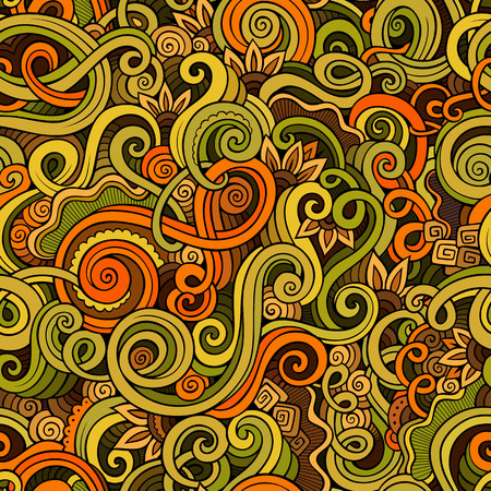 Main décorative dessinée doodle nature vecteur de boucle ornementale sommaire seamless