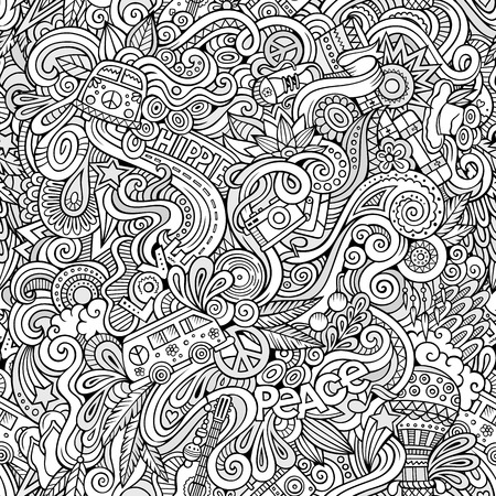 hippie: Cartoon hand-drawn Doodles on the subject of Hippie style theme seamless pattern. Sketchy vector background