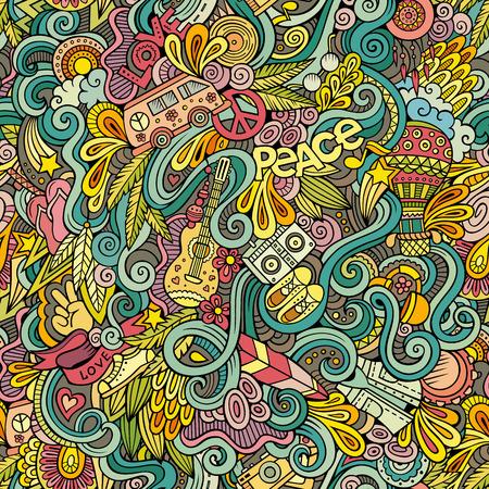 Cartoon disegnati a mano Doodles sul tema della Hippie stile tema seamless. vettore sfondo colorato Vettoriali