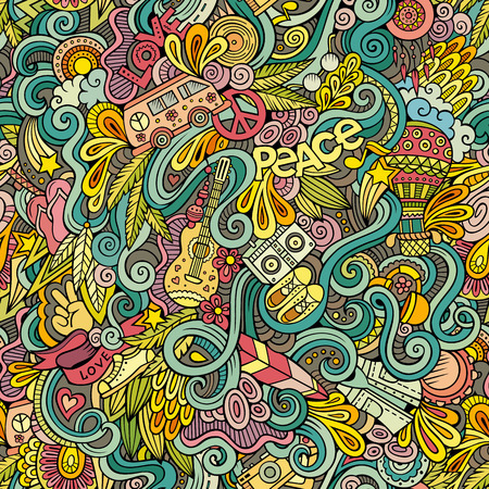 Cartoon hand-drawn Doodles on the subject of Hippie style theme seamless pattern. Colorful vector background