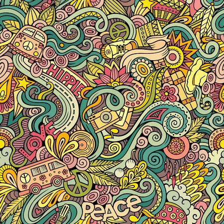 60s hippie: Cartoon hand-drawn Doodles on the subject of Hippie style theme seamless pattern. Colorful vector background