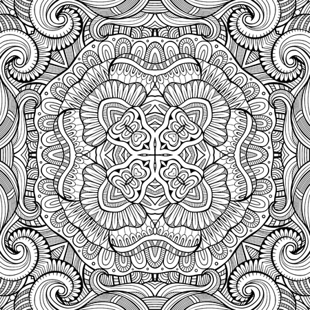 batik: Abstract vector decorative ethnic hand drawn sketchy contour seamless pattern