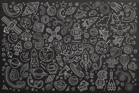 space station: Chalkboard vector hand drawn doodles cartoon set of Space objects and symbols