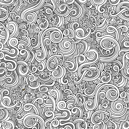 装飾的な手描き落書き自然観賞用カール ベクトル大ざっぱなシームレスなパターン