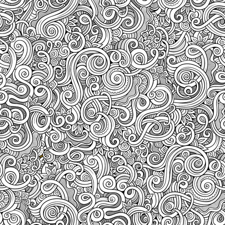 Decorative hand drawn doodle nature ornamental curl vector sketchy seamless pattern