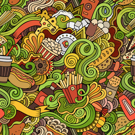 cartoon bottle: Cartoon vector hand-drawn Doodles on the subject of fast food seamless pattern. Colorful background