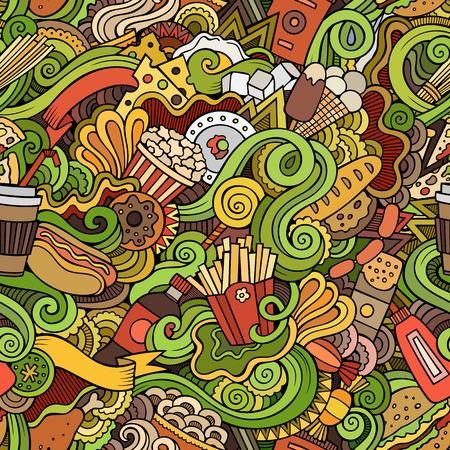 huevo caricatura: Doodles vector de la historieta dibujada mano-sobre el tema de la comida r�pida sin patr�n. Fondo colorido