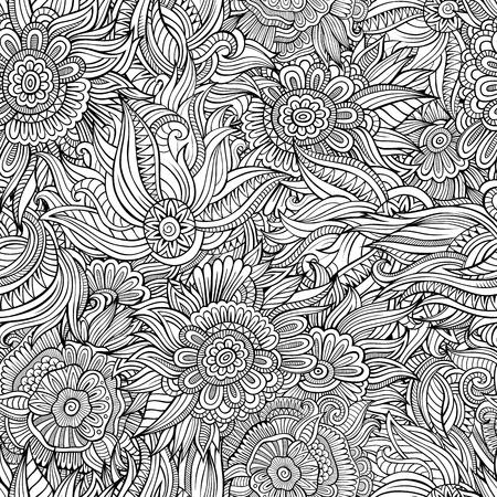 아름 다운 장식 꽃 민족 장식 스케치 원활한 패턴. 배경 무늬, 패턴 채우기, 웹 페이지 배경, 표면 질감, 채색에 사용할 수 있습니다. 일러스트