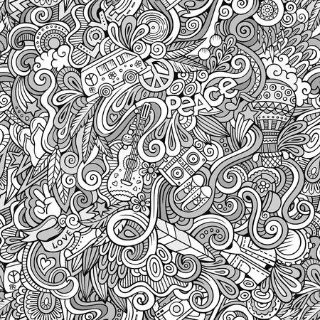 Dibujos animados dibujados a mano garabatos sobre el tema de patrón transparente tema del estilo del Hippie. vector de fondo incompleto Foto de archivo - 50101517