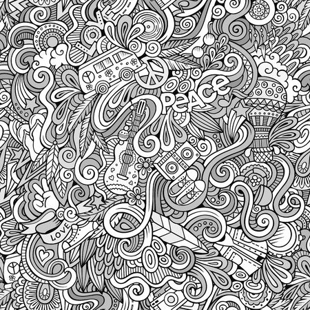 Cartoon hand-drawn Doodles on the subject of Hippie style theme seamless pattern. Sketchy vector background