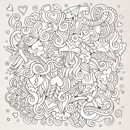 design objects: Cartoon vector hand-drawn Love Doodles. Sketchy design background with objects and symbols.