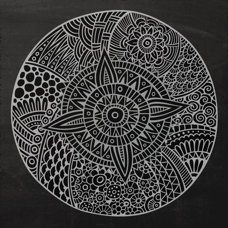 pattern flower: Vector chalkboard decorative hand drawn circle sketch background