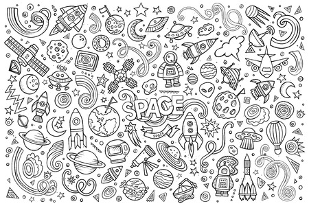 space station: Sketchy vector hand drawn doodles cartoon set of Space objects and symbols