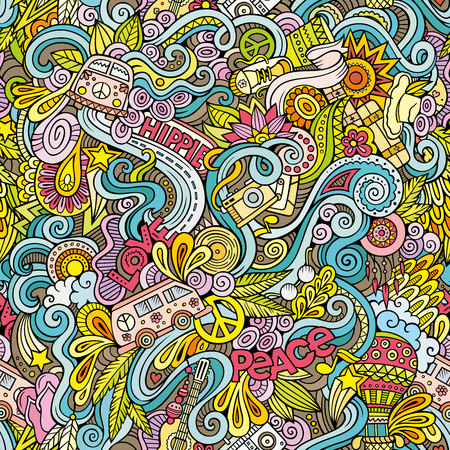 Cartoon hand getekende doodles over het onderwerp van de hippie stijl thema naadloos patroon. Kleurrijke vectorachtergrond