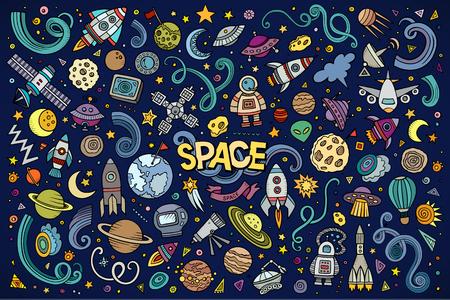 sonne mond und sterne: Bunte Vektor Hand gezeichneten Kritzeleien Cartoon Satz von Objekten im Weltraum und Symbole