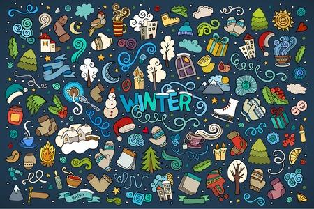 estado del tiempo: vector de la mano de colores conjunto de dibujos animados garabatos de objetos y símbolos de invierno
