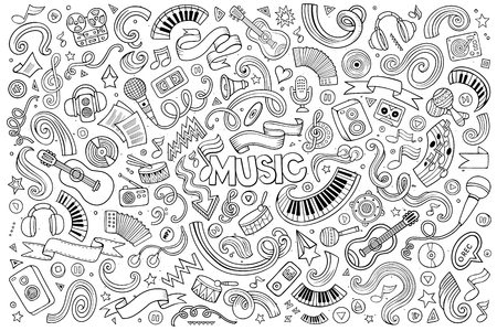 Schetsmatig vector hand getekende doodles cartoon set van Music objecten en symbolen Stock Illustratie