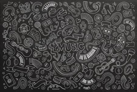 음악 개체 및 기호 칠판 벡터 손으로 그린 낙서 만화 세트