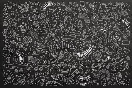Chalkboard vector hand drawn doodles cartoon set of Music objects and symbols