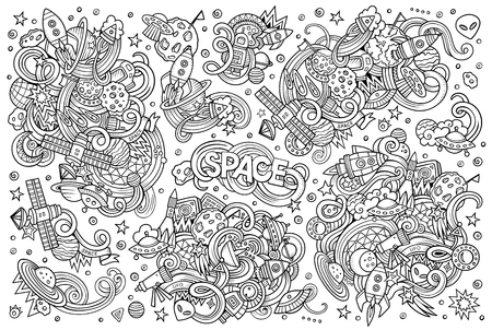 earth cartoon: Sketchy vector hand drawn doodles cartoon set of Space objects and symbols