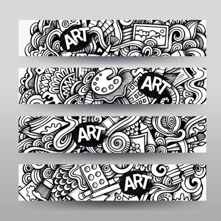 Graphics vector hand-drawn sketchy trace Art Ccraft Doodle. Horizontal banners design templates set Illustration