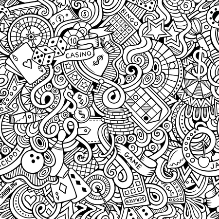 sport background: Cartoon hand-drawn doodles on the subject of casino style theme seamless pattern. Vector line art background