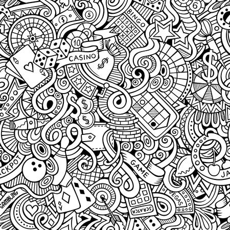 Garabatos de dibujos animados dibujados a mano, sobre el tema de tema de estilo de casino sin patrón. Arte del vector de línea de fondo Ilustración de vector