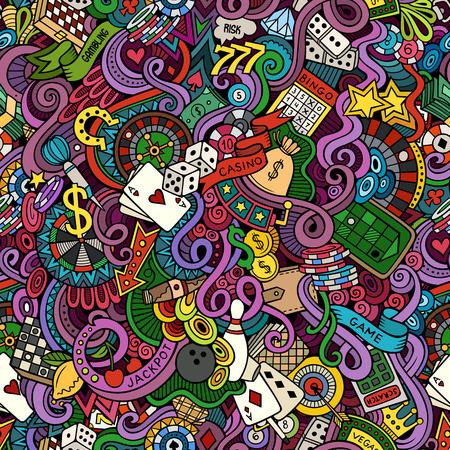 Cartoon hand getekende doodles op het gebied van casino stijl thema naadloos patroon. Vector kleur achtergrond