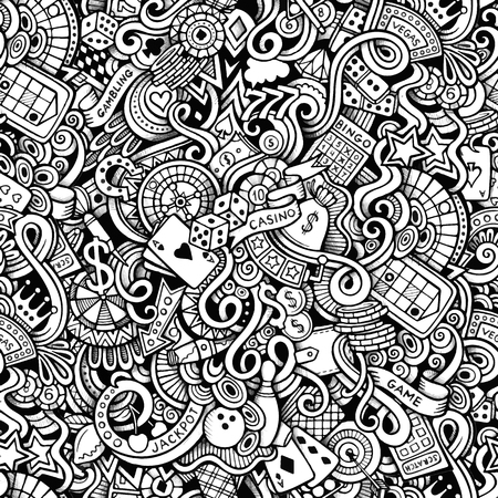 poker hand: Cartoon hand-drawn doodles on the subject of casino style theme seamless pattern. Vector line art background