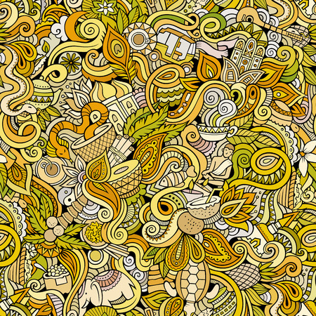 sri: Cartoon hand-drawn doodles on the subject of Indian style theme seamless pattern. Color vector background