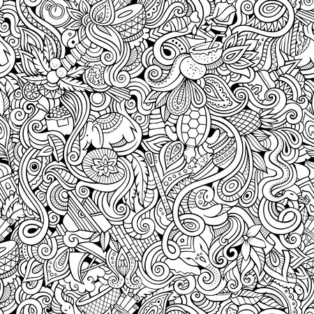 Cartoon hand-drawn doodles on the subject of Indian style theme seamless pattern. Contour vector background Illustration