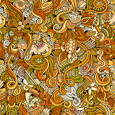 animal vector: Cartoon hand-drawn doodles on the subject of Indian style theme seamless pattern. Color vector background