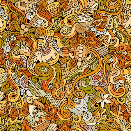 indische muster: Cartoon handgezeichneten Kritzeleien zum Thema Indian Stil Thema nahtlose Muster. Farbe Vektor-Hintergrund Illustration