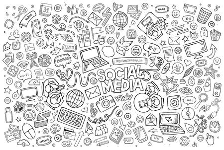 la línea de arte de dibujos animados conjunto de vectores Doodle de objetos y símbolos en el tema de los medios sociales Ilustración de vector