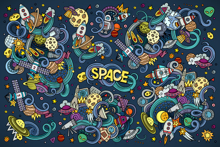 ship sky: Colorful vector hand drawn doodles cartoon set of Space objects and symbols