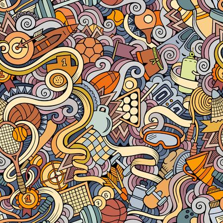 hockey sobre cesped: garabatos dibujados a mano de dibujos animados sobre el tema de patrón transparente tema de estilo deportivo. Fondo multicolor de vector