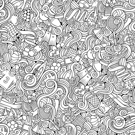 boxing tape: Cartoon hand-drawn doodles on the subject of sports style theme seamless pattern. Vector line art background