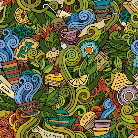 Cartoon Kritzeleien auf das Thema tea time Stil Thema nahtlose Muster Hand gezeichnet. Vektor farbigen Hintergrund