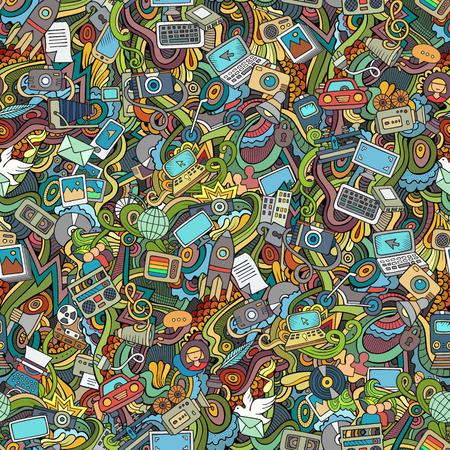 computadora caricatura: Doodles vector de dibujos animados dibujados a mano sobre el tema de las redes sociales, Internet, técnica, equipo, iconos de transporte y símbolos patrón transparente. fondo colorido Vectores