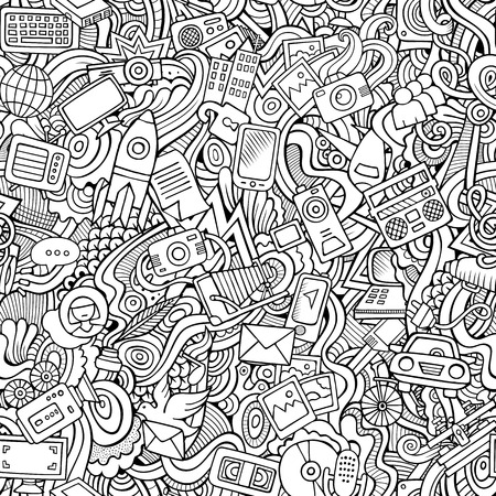 lifestyle: Cartoon vector hand-drawn Doodles on the subject of social media, internet, technical, computer, transport icons and symbols seamless pattern. Sketchy background