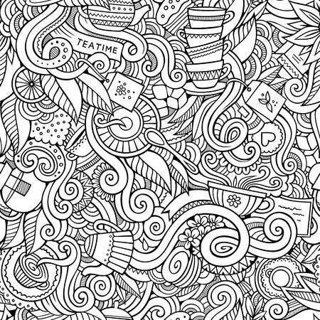 planta de cafe: Garabatos de dibujos animados dibujados a mano, sobre el tema de la hora del té tema de estilo sin patrón. Arte del vector de línea de fondo